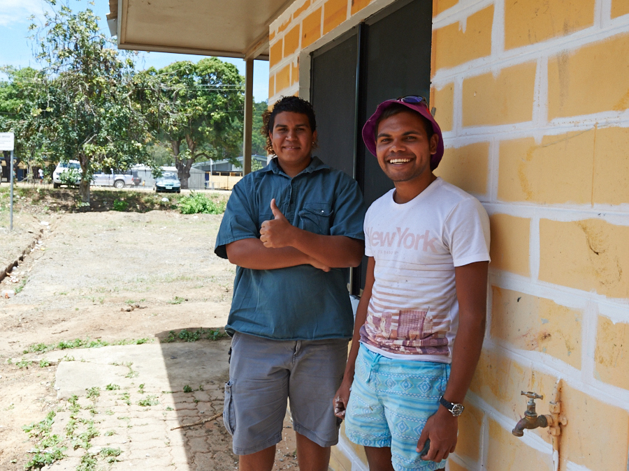 Two young Indigenous boys commencing training on Palm Island. The Training Toolkit is given to all of our job seekers who participate in training.