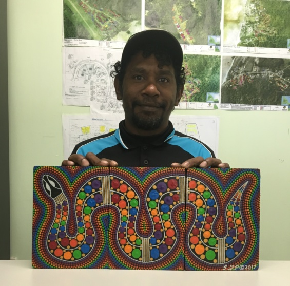 Ian Palmer pictured - he is one of the artists for the Lost Artists of Palm Island Exhibition