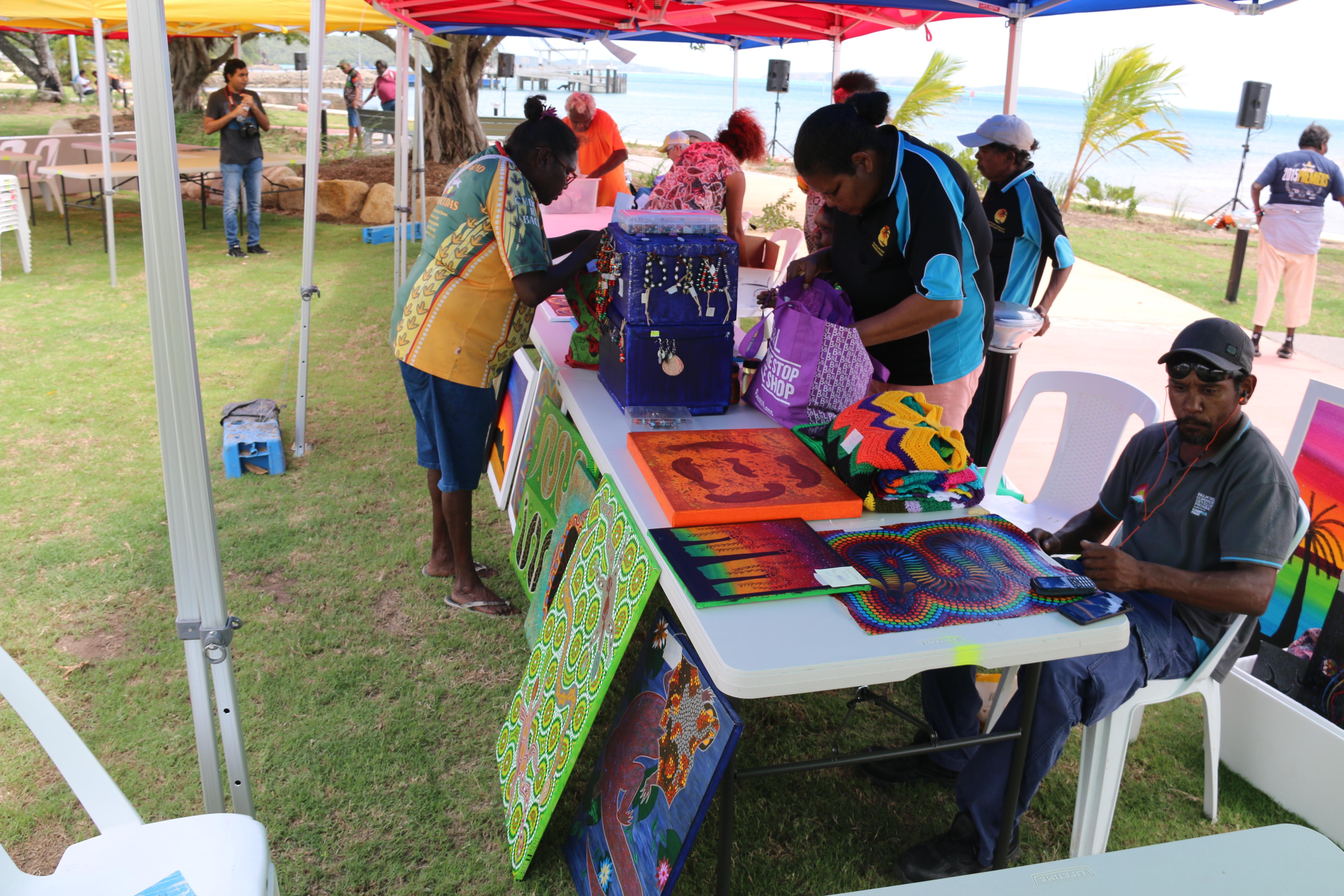 Palm Island Centenary Community event CDP art stall