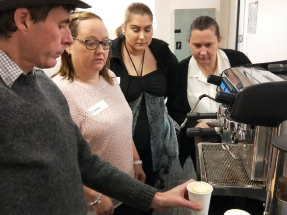 Sunshine Careers Fair (Be Seen 2018) Customers showing off their barista skills